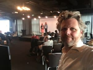 Tom Sligting met zijn Key note in Antwerpen